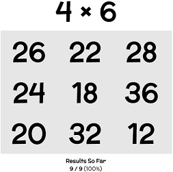 Online times tables quiz for touchscreen devices - android, iphone, ipad, tablet.